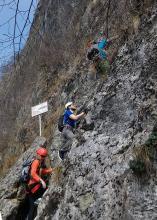 Начало маршрута via ferrata на Pizzo D'Erna